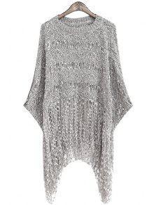 Fringe Openwork Long Sleeve Sweater - Gray