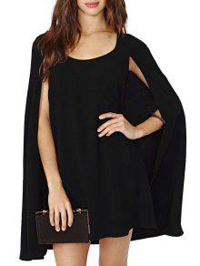Solid Color Sleeveless Cloak Dress - Black Xl