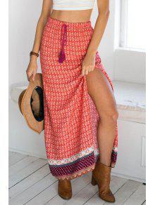 c423c6ab6 27% OFF] 2019 Ethnic Pattern High Slit Drawstring Maxi Skirt In RED ...
