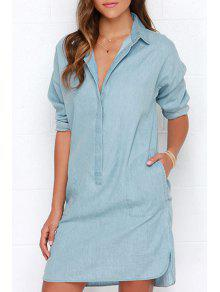 Denim Blue Turn-Down Collar Long Sleeve Dress - BLUE M