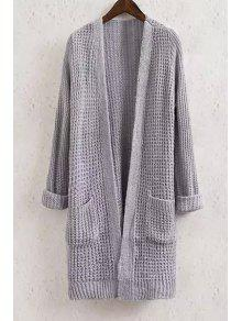 Buy Collarless Solid Color Pocket Long Sleeve Cardigan - GRAY S