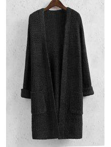 Collarless Solid Color Pocket Long Sleeve Cardigan - BLACK M
