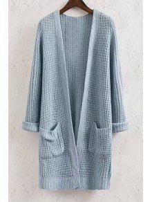 Buy Collarless Solid Color Pocket Long Sleeve Cardigan - BLUE S