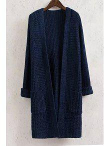 Buy Collarless Solid Color Pocket Long Sleeve Cardigan - CADETBLUE M