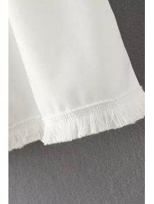 647cad155be87 26% OFF  2019 Solid Color Tassels Spliced Chiffon Tank Top In WHITE ...