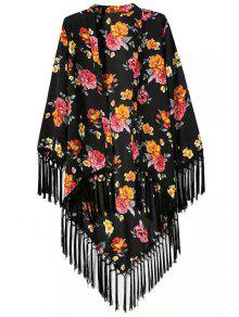 Floral Printed Tassel Splicing Long Sleeve Kimono - Black L