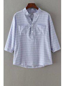 V-Neck Stripe Pocket 3/4 Sleeve Shirt - Light Blue