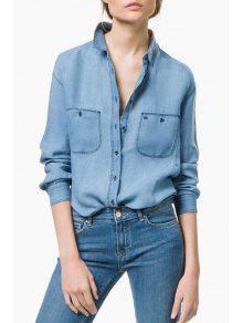 Pockets Bleach Wash Denim Long Sleeve Shirt - Light Blue L