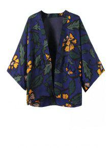 Floral Leaves Print Long Sleeve Kimono - Purplish Blue L