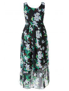 Floral Con Cordones Con Cuello En V Vestido Maxi - Negro S