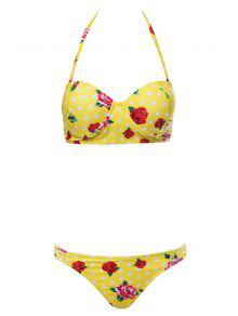 Floral Print Underwire Bathing Suit - Yellow L