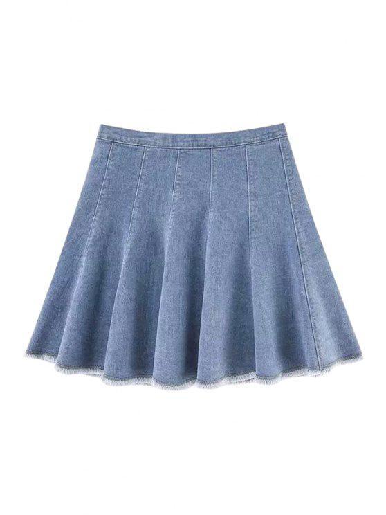 shops Bleach Wash Denim Pleated Skirt - LIGHT BLUE XS