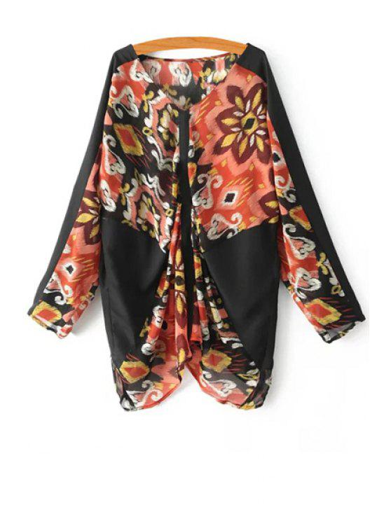 sale Print Spliced V Neck Long Sleeve Blouse - RED WITH BLACK ONE SIZE(FIT SIZE XS TO M)