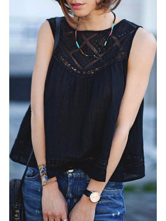 unique Black Sleeveless Hollow With Lace Tank Top - BLACK S