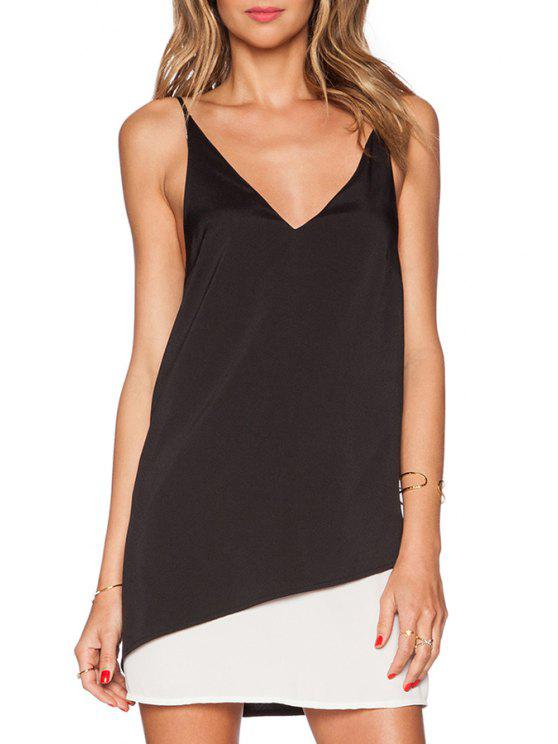 sale Black White Spaghetti Strap Color Block Dress - WHITE AND BLACK S