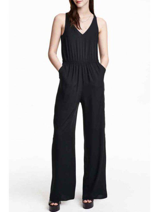 best Sleeveless Jumpsuit - BLACK L