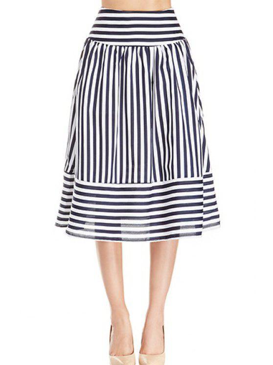 lady Stripe Panel Skirt - WHITE AND BLACK S