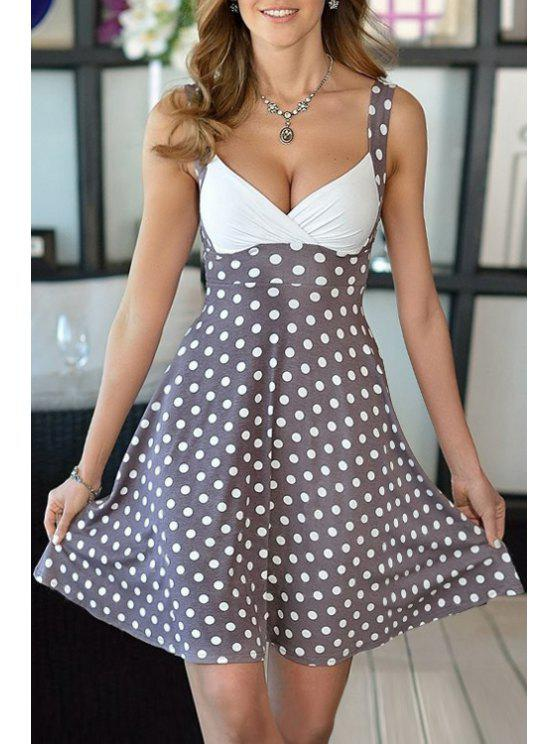 affordable Color Block Polka Dot Fit and Flare Dress - KHAKI S