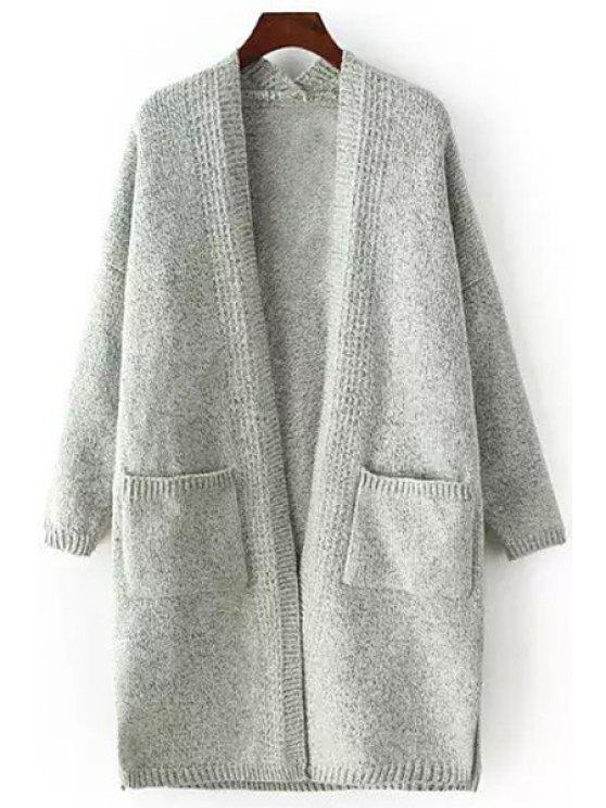 womens Pocket Side Slit Long Sleeve Cardigan - LIGHT GRAY ONE SIZE(FIT SIZE XS TO M)
