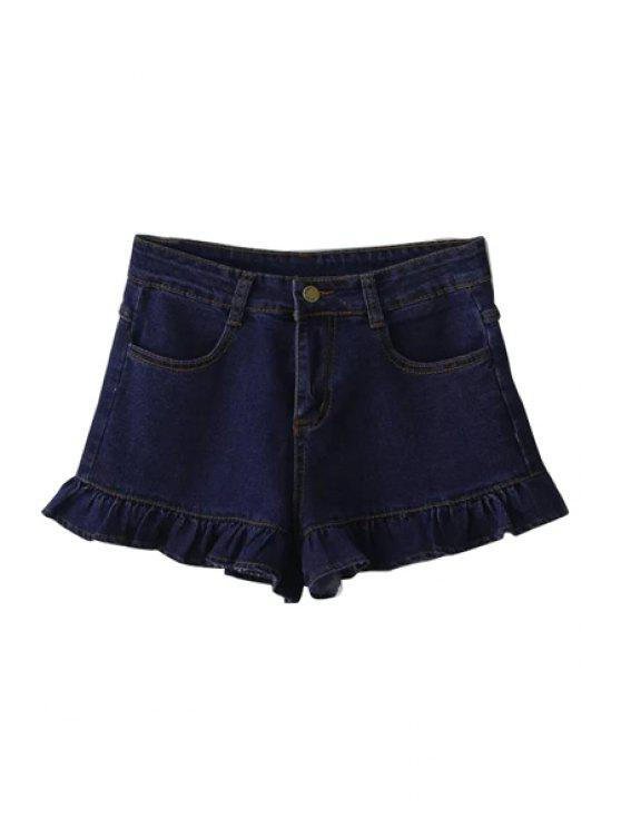 ladies Deep Blue Denim Wide Leg Shorts - DEEP BLUE S