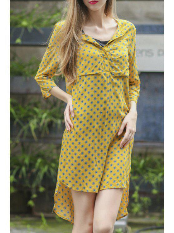 womens Tiny Sunflower Print Asymmetrical 3/4 Sleeve Dress - YELLOW S