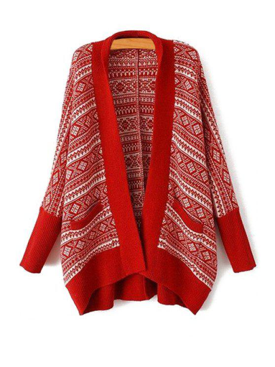 new Tribal Pattern Long Sleeves Cardigan - RED ONE SIZE(FIT SIZE XS TO M)