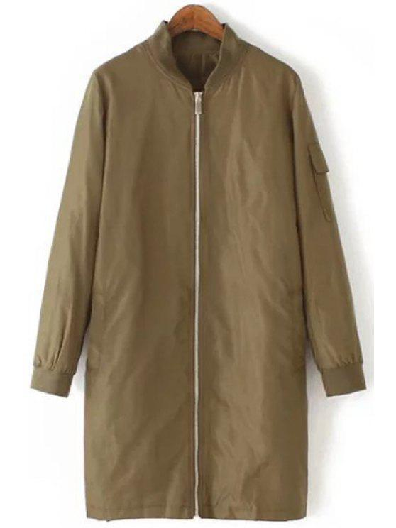 affordable Stand-Up Collar Solid Color Pocket Trench Coat - KHAKI S