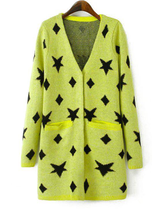 buy Star Pattern V Neck Long Sleeve Cardigan - YELLOW M