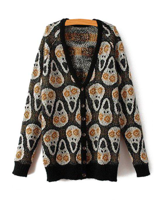 lady Skull Pattern Plunging Neck Cardigan - BLACK ONE SIZE(FIT SIZE XS TO M)