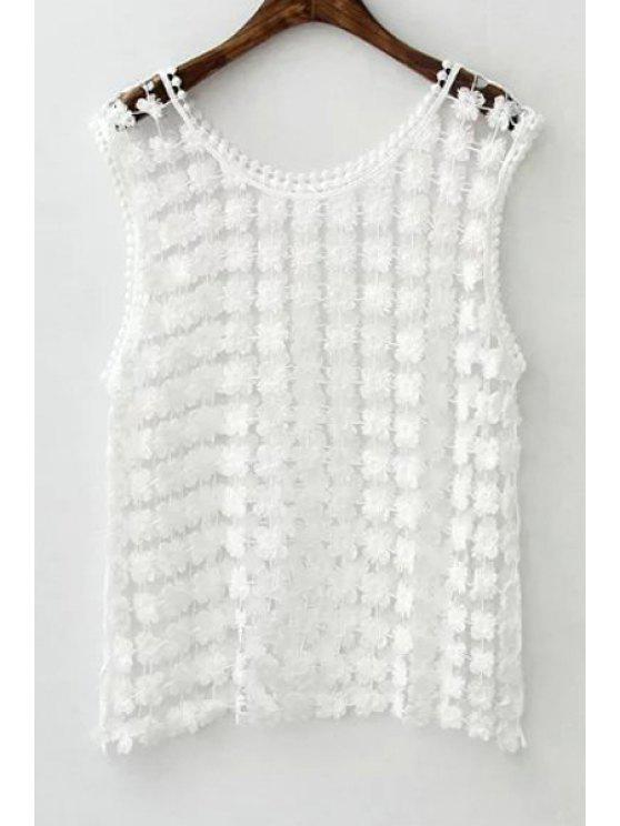 hot White Hollow Out Scoop Neck Tank Top - WHITE ONE SIZE(FIT SIZE XS TO M)