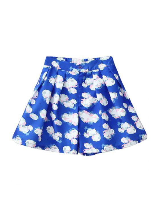 new Full Cloud Print High Waisted Shorts - BLUE S