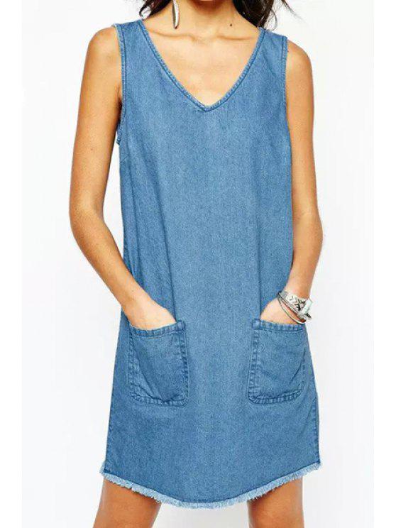 e49febfd614a31 2019 Bleach Wash Pocket Denim Sleeveless Dress In LIGHT BLUE L