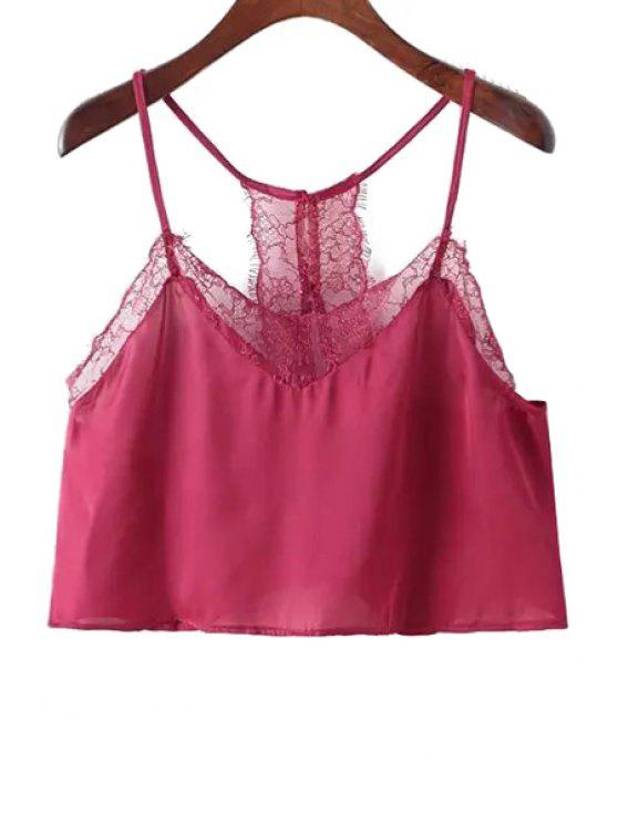 outfits Lace Spliced Cami Crop Top - RED ONE SIZE(FIT SIZE XS TO M)