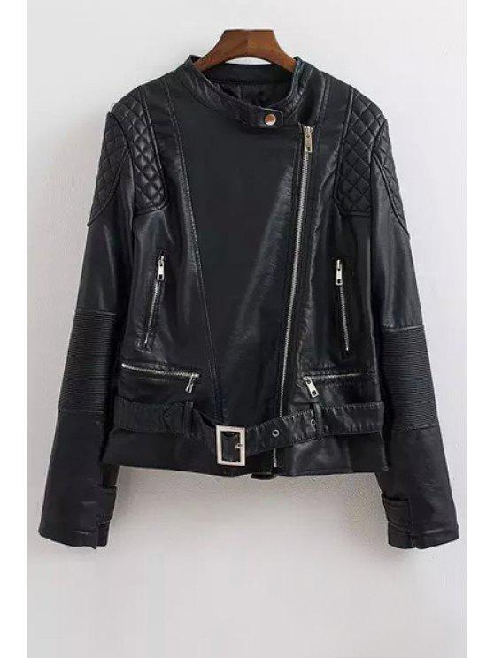 best Faux Leather Stand Neck Long Sleeve Jacket - BLACK S