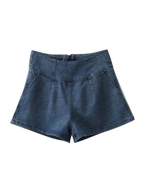 latest Light Blue Wide Leg Denim Shorts - LIGHT BLUE S