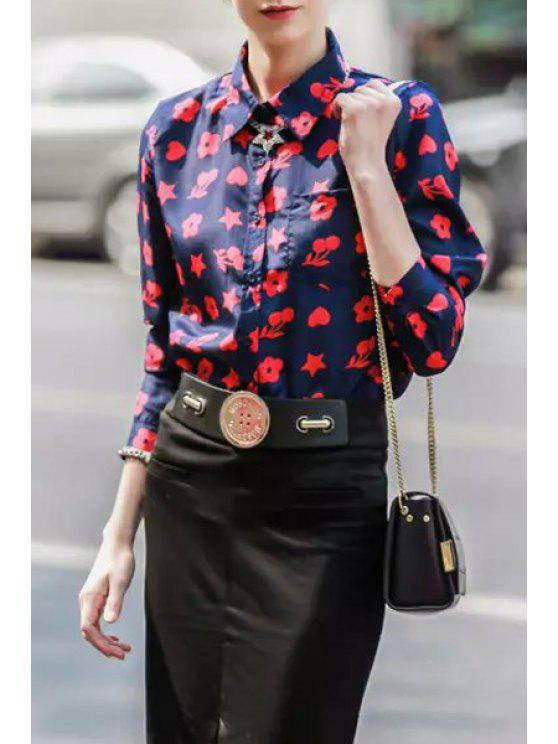 women Star Floral Cherry Print Long Sleeve Shirt - BLUE AND RED S