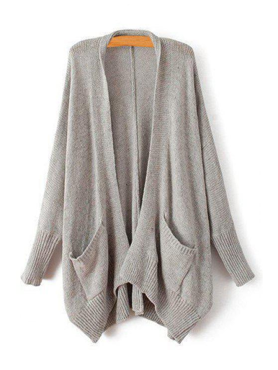 new Pure Color Collarless Long Sleeve Cardigan - GRAY ONE SIZE(FIT SIZE XS TO M)