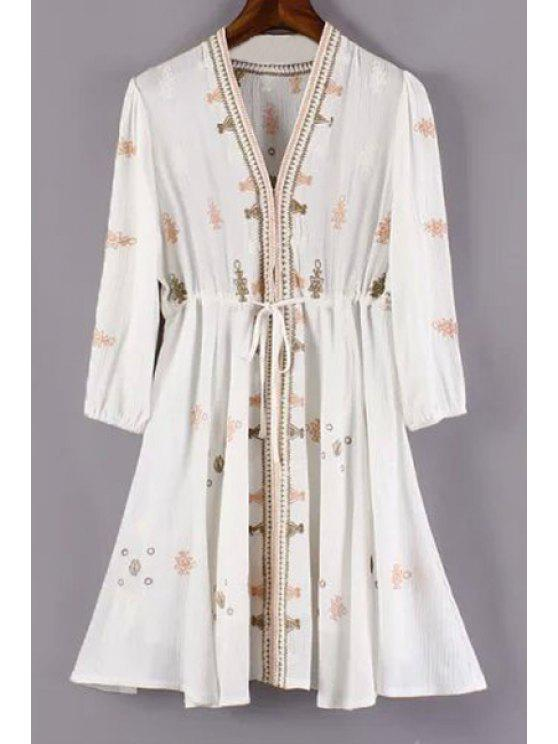 fashion Embroidery Plunging Neck 3/4 Sleeve Dress - WHITE M