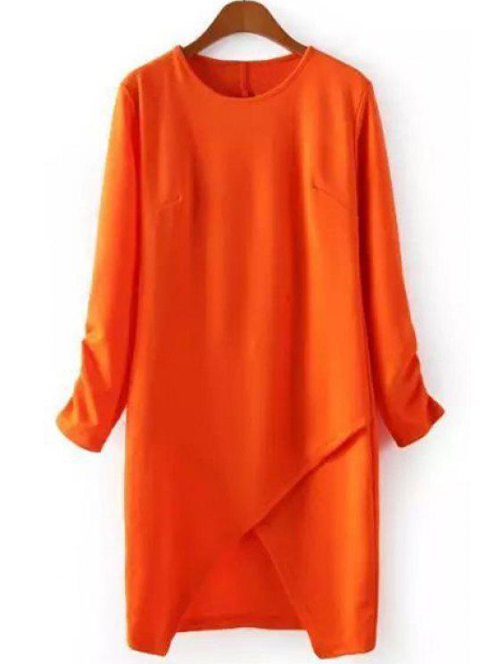 online Cross Asymmetrical Long Sleeve Dress - ORANGE S