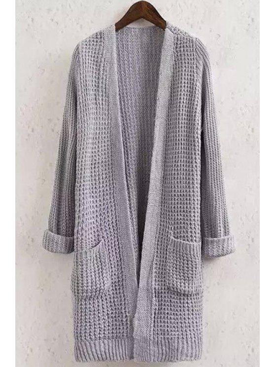 women's Pocket Solid Color Collarless Long Sleeve Cardigan - GRAY ONE SIZE(FIT SIZE XS TO M)