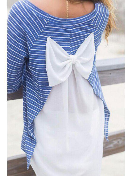 outfits Striped Chiffon Bowknot Embellished T-Shirt - BLUE AND WHITE S
