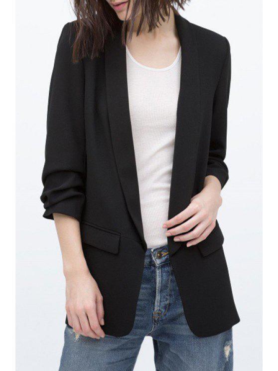 fancy Shawl Collar Solid Color Ruffle 3/4 Sleeve Blazer - BLACK S