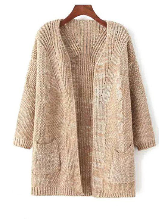 outfits Collarless Back Stripe Long Sleeve Cardigan - KHAKI ONE SIZE(FIT SIZE XS TO M)