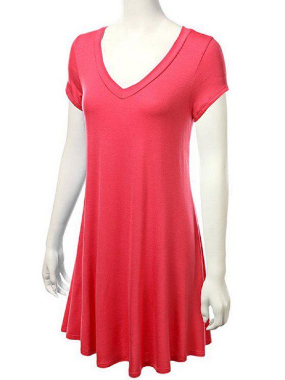 sale Solid Color Short Sleeve Flounce Dress - JACINTH M