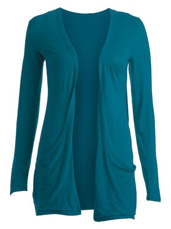 women Pure Color Long Sleeve Cardigan - BLUE M