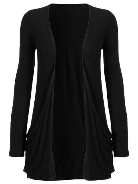 outfits Pure Color Long Sleeve Cardigan - BLACK M