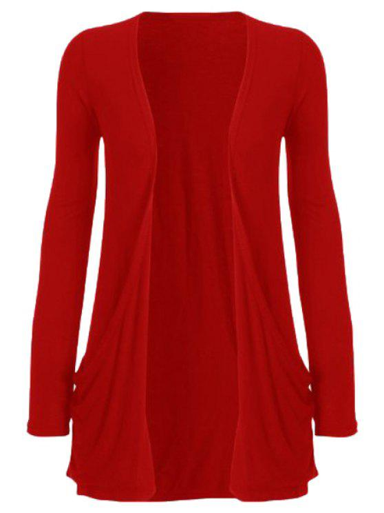 shop Pure Color Long Sleeve Cardigan - RED 2XL