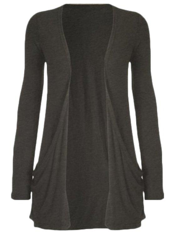 womens Pure Color Long Sleeve Cardigan - DEEP GRAY L