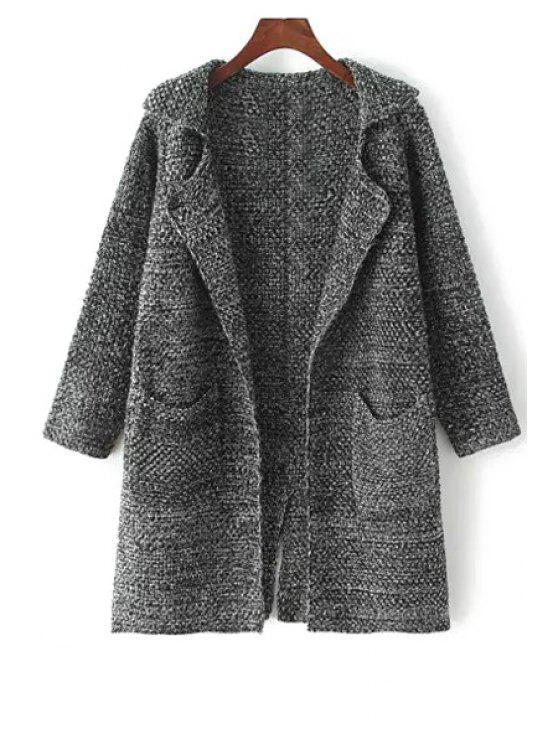 fancy Turn-Down Collar Pocket Long Sleeve Cardigan - DEEP GRAY ONE SIZE(FIT SIZE XS TO M)