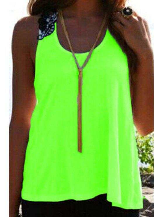 outfits Lace Spliced Crochet Flower Hollow Out Tank Top - NEON GREEN XL